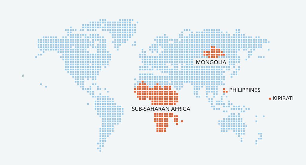 world map with sub-Saharan Africa highlighted