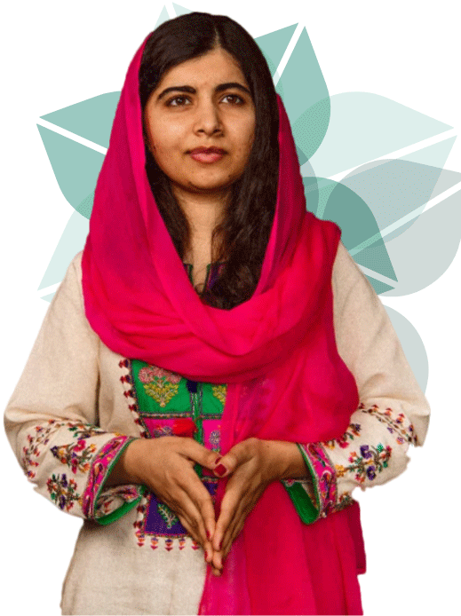 photo of Malala in bright clothing with green flower pattern behind her