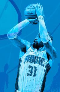 basketball player taking a shot