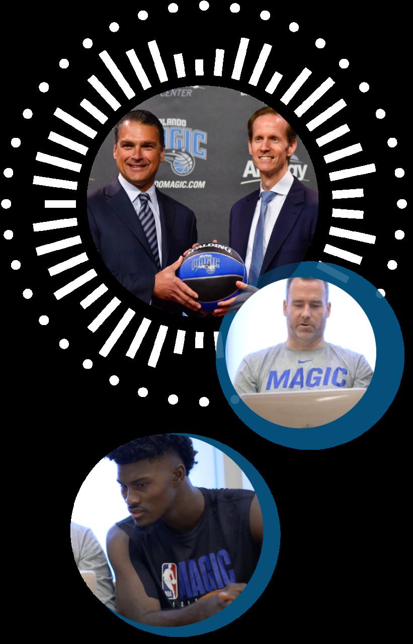 Orlando Magic three circle collage of players and staff