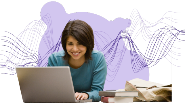 women using a laptop with abstract purple background
