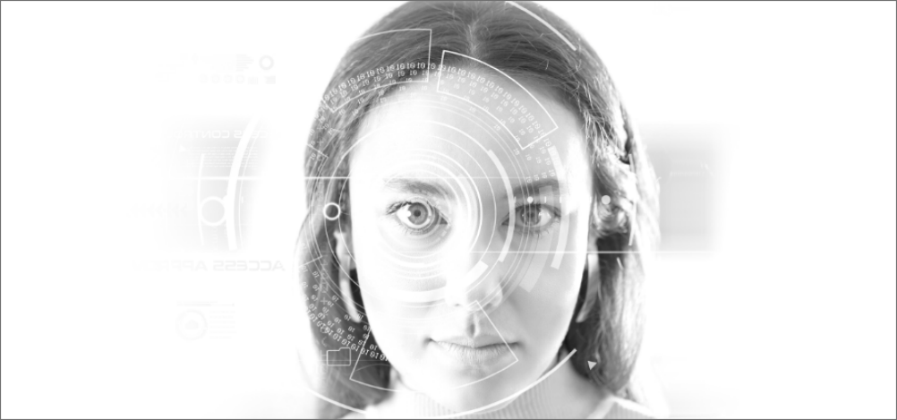 Woman's face looking forward with abstract circles focused on her eye