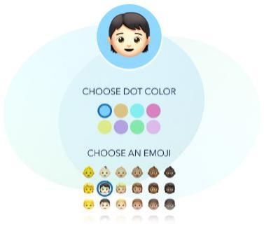 graphic of emoji design widget showing color and images choices
