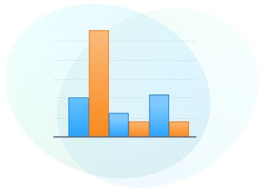 graphic of orange and blue vertical bar chart with no labels